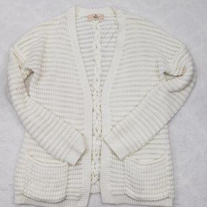 Pink Republic Open Front Ivory Cardigan w Pockets